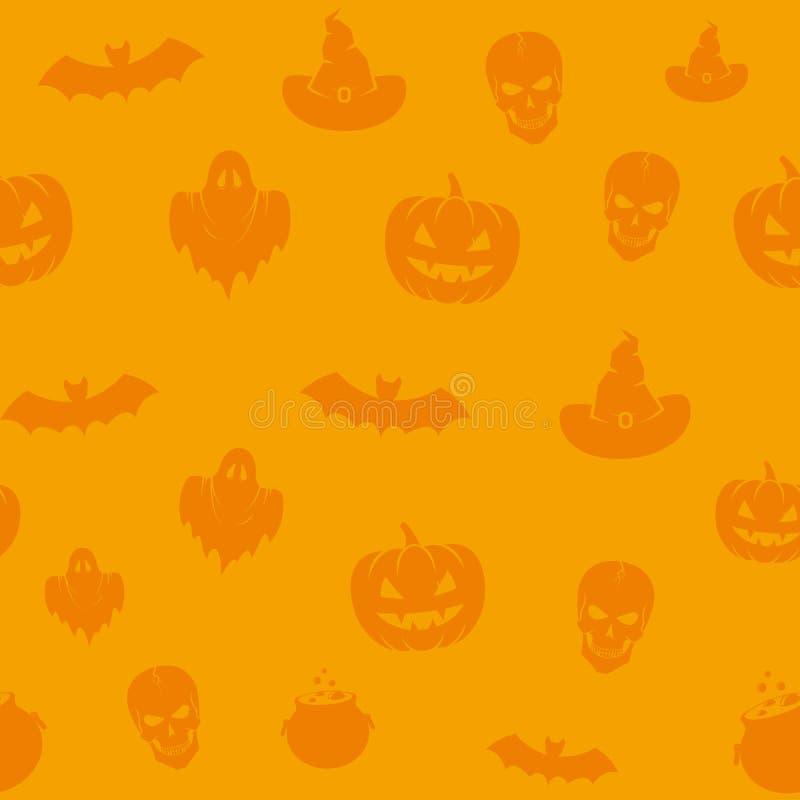 Zabaw Halloweenowych ikon tła Wektorowy Bezszwowy wzór Czaszki, banie, nietoperze, duchy i Okładkowy szablon Karciani, ilustracji