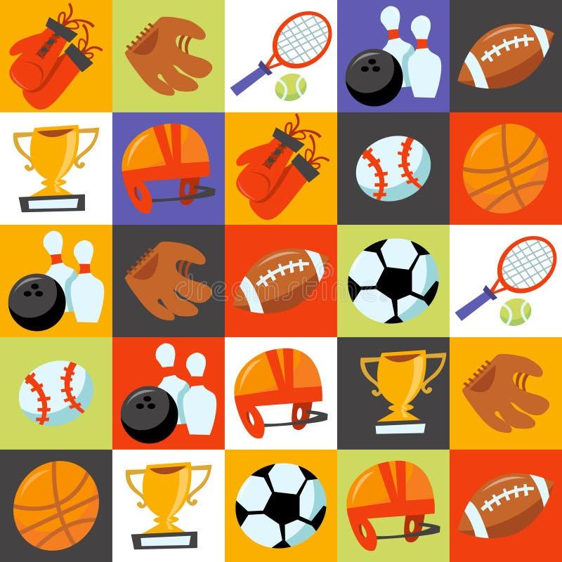 Zabaw ikon płytek Wonky Sportowy tło ilustracji