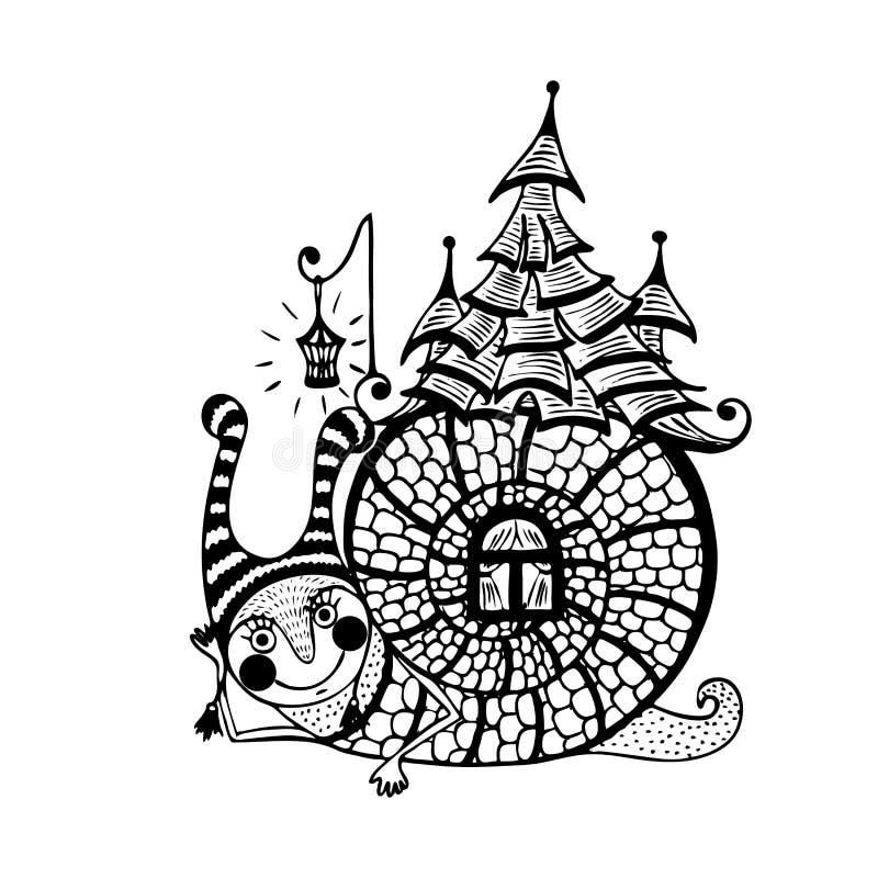 Zabawa ślimaczek z domem na swój plecy wektor royalty ilustracja