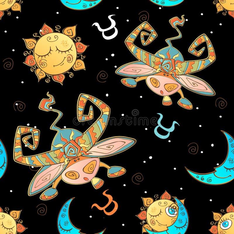 Zabawa bezszwowy wzór dla dzieciaków taurus wektora ilustracji znak zodiaku wektor ilustracja wektor