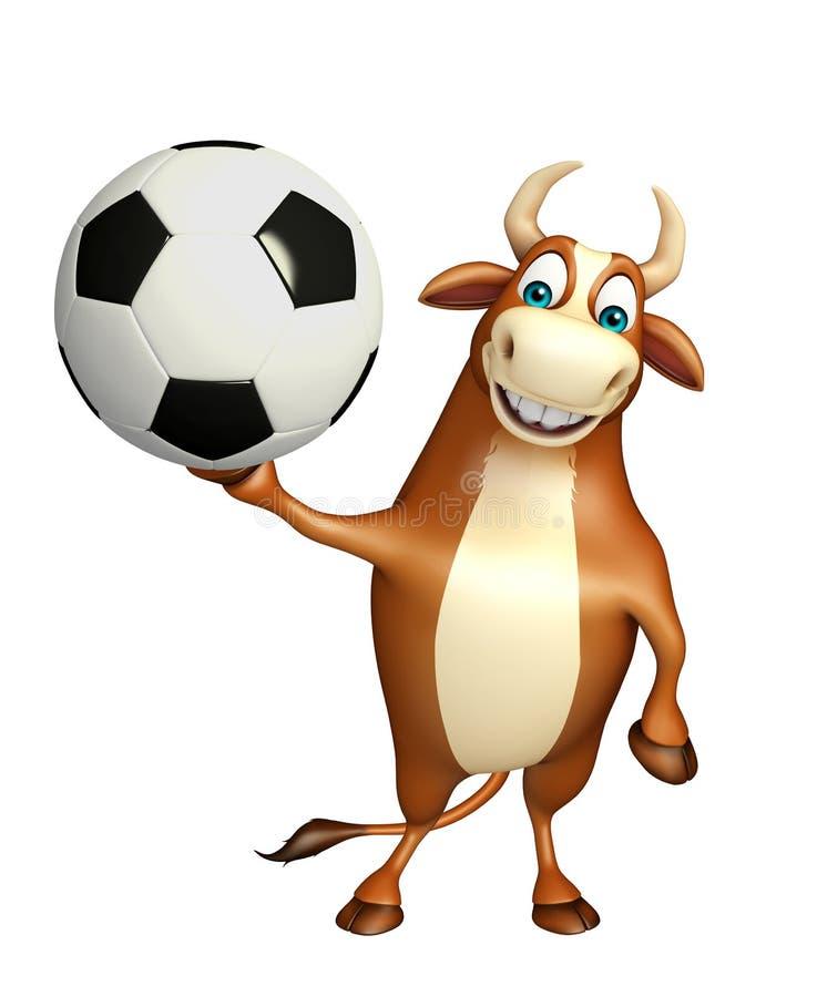 Zabawa byka postać z kreskówki z futbolem ilustracja wektor