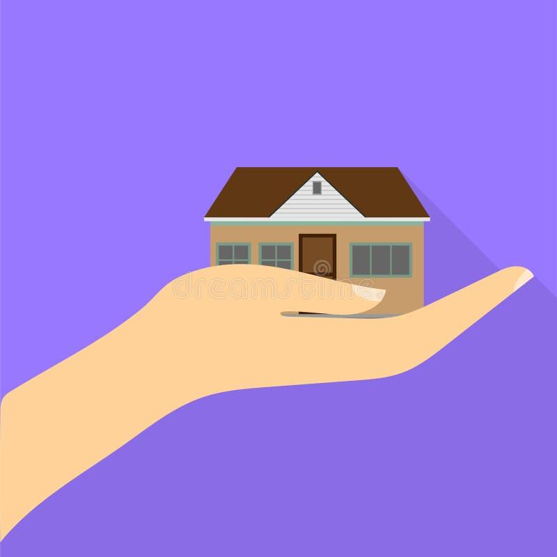 Zabawa chłodno dom w ręce z cieniem Płaski projekt ilustracja wektor