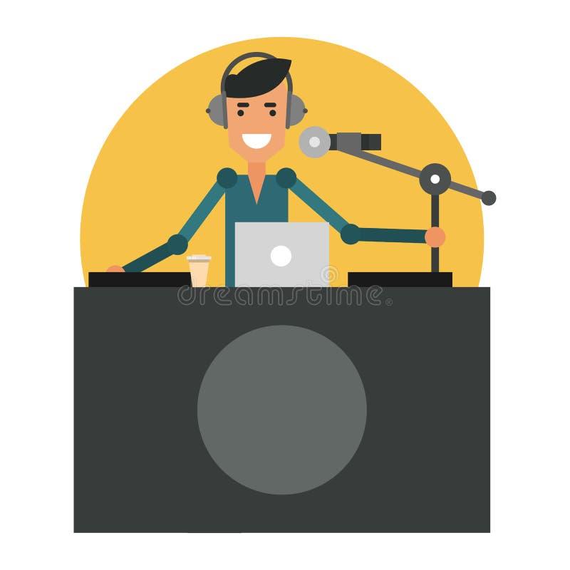 Zabawa DJ w miejscu pracy Radiowy podawca w hełmofonach royalty ilustracja