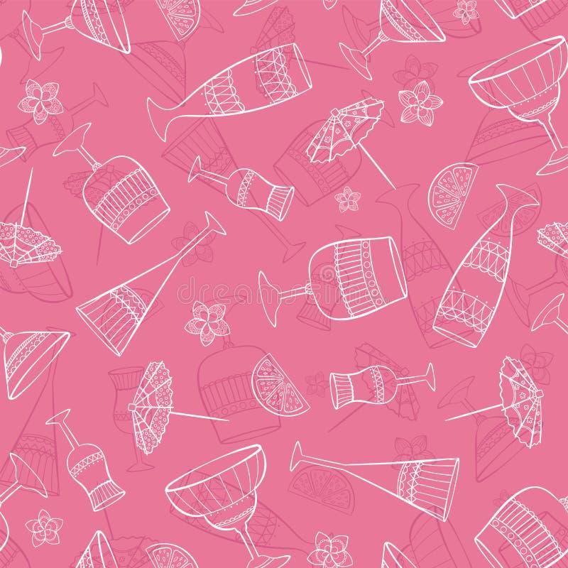 Zabawa i elegancki bezszwowy wzór z koktajli/lów szkłami, dekorującymi z cytrynami, parasolami i kwiatami, piękny tło wektor ilustracji