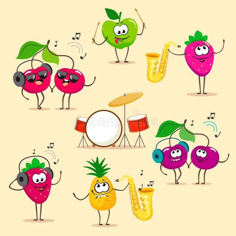 Zabawa i muzykalny ustawiający kreskówek owoc Wektorowa owoc odizolowywa na bia?ym tle royalty ilustracja