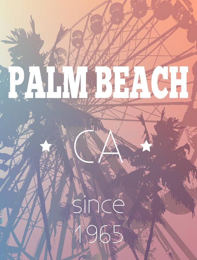 Zabawa jarmark i drzewko palmowe druk ilustracja wektor