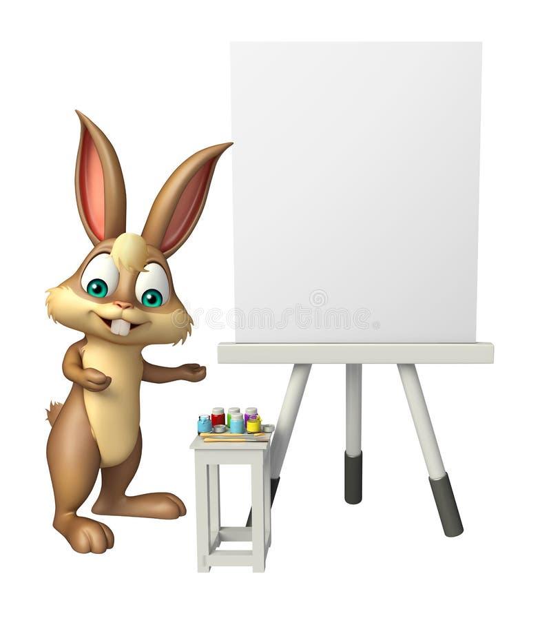 Zabawa królika postać z kreskówki z białą deską ilustracji