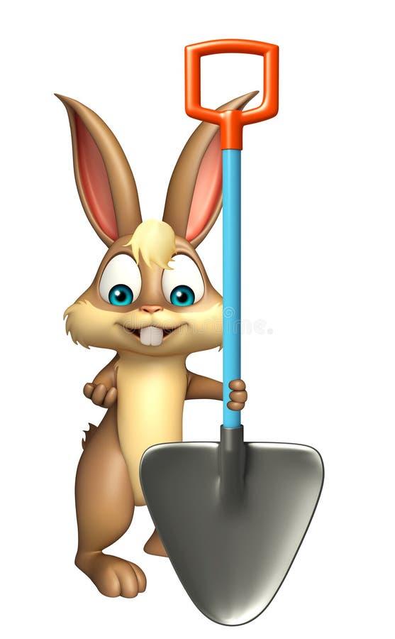 Zabawa królika postać z kreskówki z głębienie łopatą royalty ilustracja