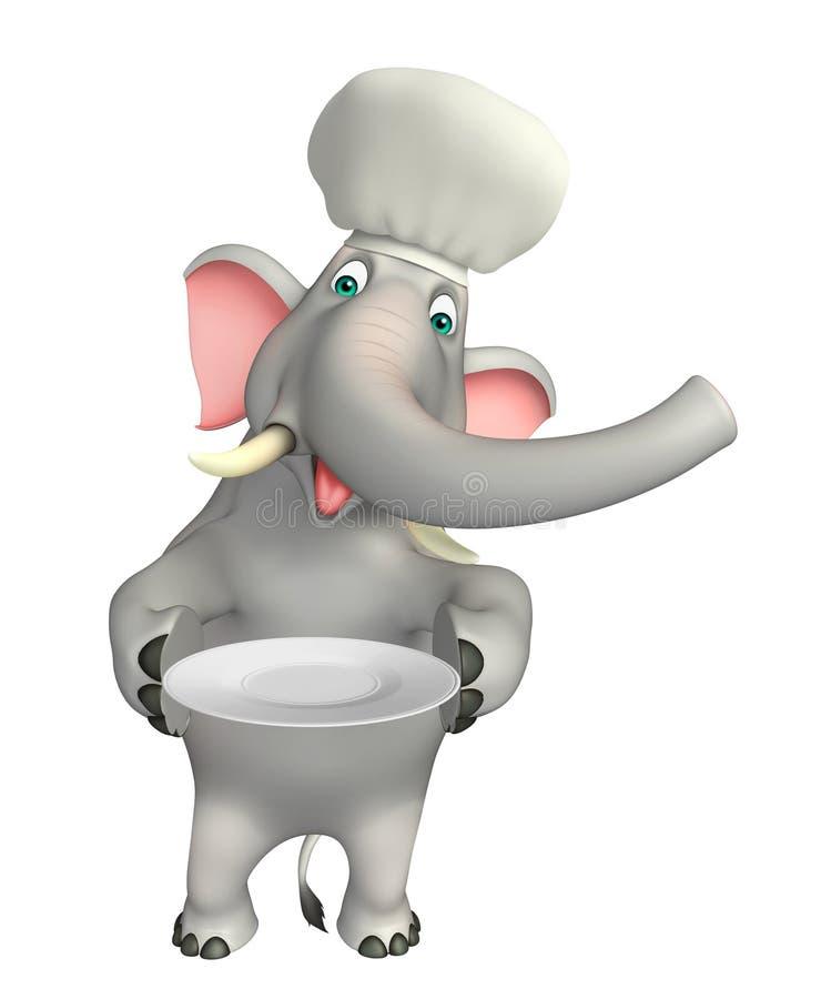Zabawa słonia postać z kreskówki z obiadowego talerza i szefa kuchni kapeluszem ilustracja wektor