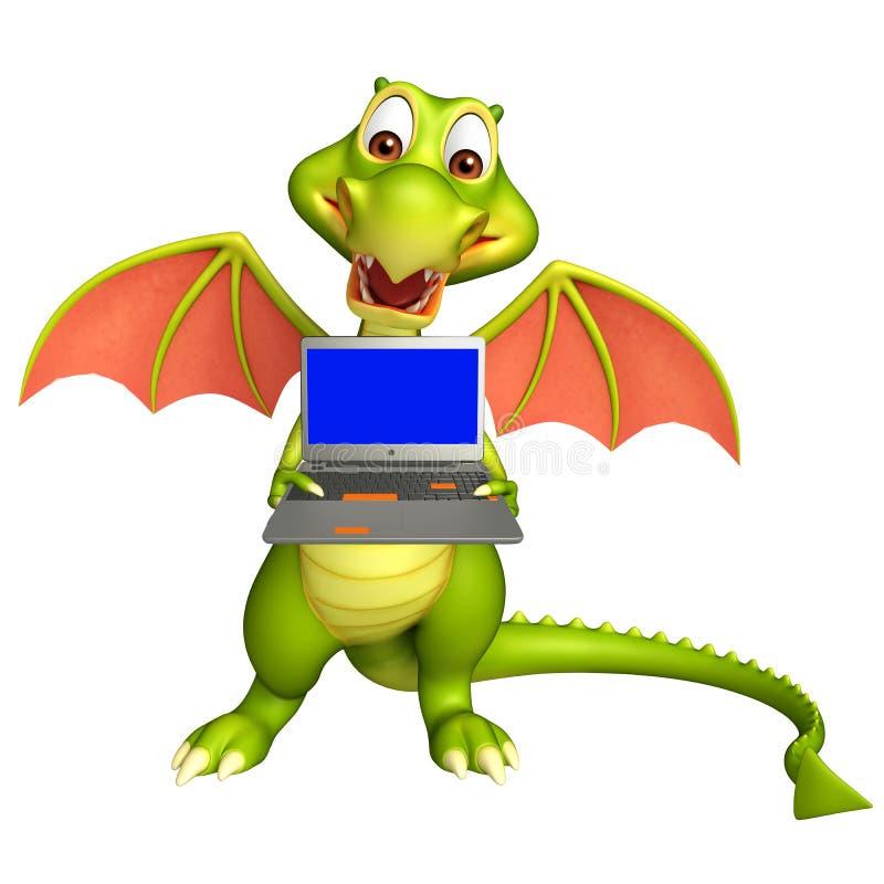 Zabawa smoka postać z kreskówki z laptopem ilustracja wektor