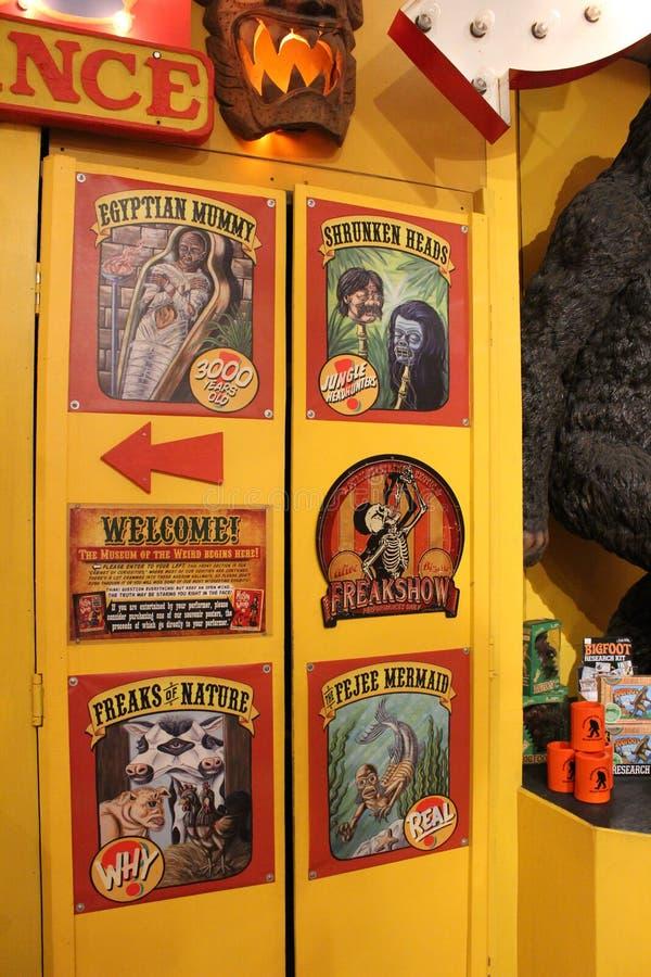 Zabawa strzelał historyczny wnętrze strzelający podkreślający «muzeum Dziwny, «w centrum Austin, Teksas, 2018 obrazy stock