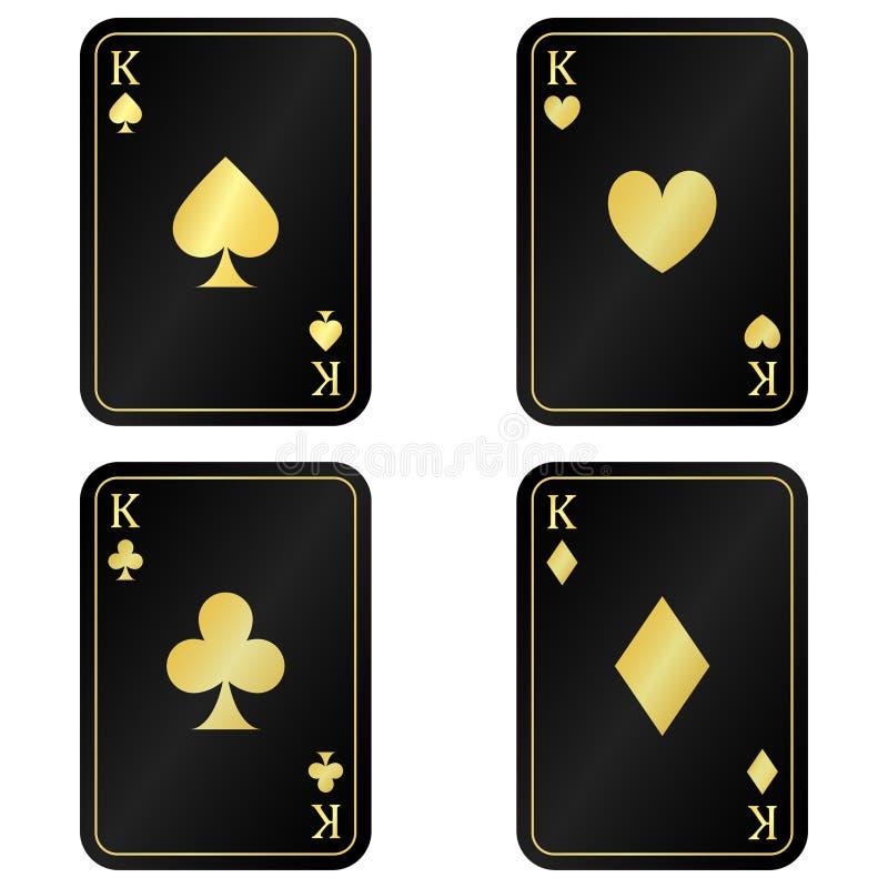 Zabawa ustawia Cztery czerni karcianego królewiątko z złotem royalty ilustracja