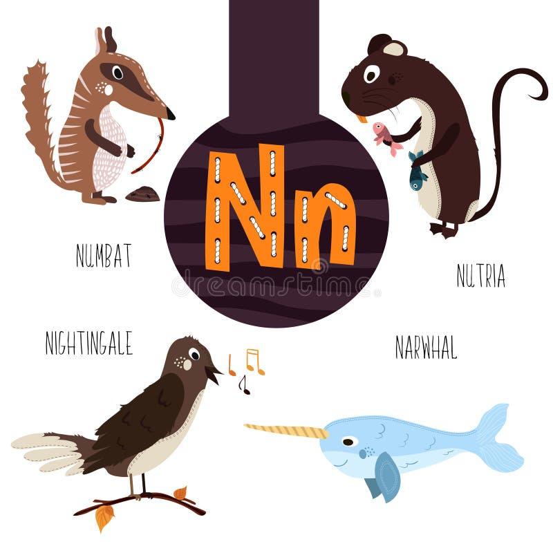 Zabawa zwierzęcy listy abecadło dla uczenie preschool dzieci i rozwoju Set śliczny las, domowy i morski royalty ilustracja