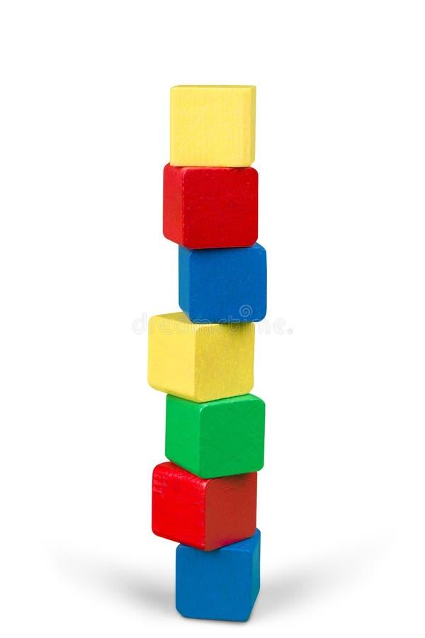Zabawkarscy drewniani bloki brogują, wierza pusty multicolor fotografia stock
