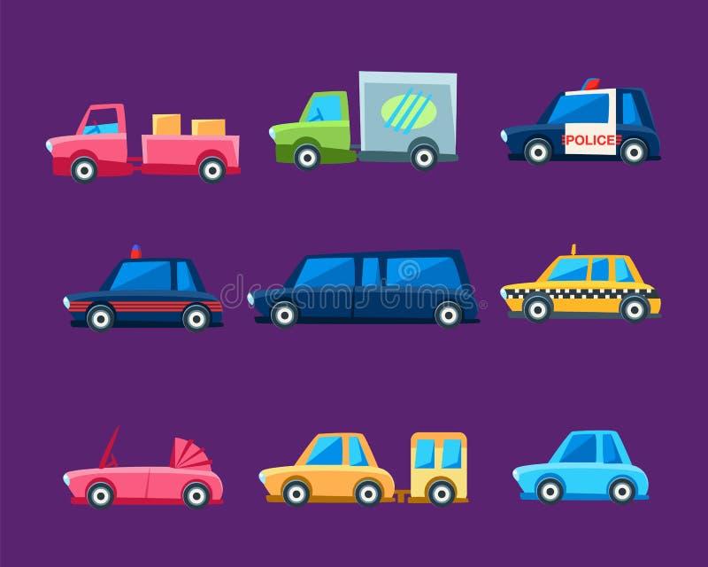 Zabawkarscy Kolorowi Różni Usługowi samochody Ustawiający ilustracja wektor
