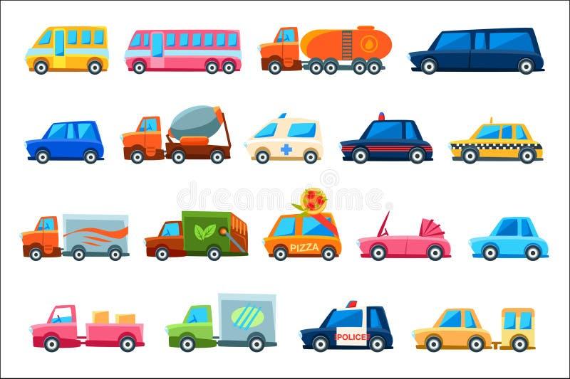 Zabawkarscy Kolorowi R??ni Us?ugowi samochody Ustawiaj?cy royalty ilustracja