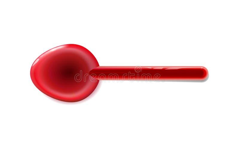 Zabawkarscy plastikowi łyżkowi realistyczni tablewares zaokrąglali, czerwień glansowana Odizolowywający na lekkim tle Zabawa elem ilustracja wektor