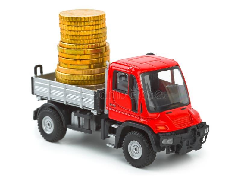 Zabawkarska ciężarówka z pieniądze obrazy royalty free