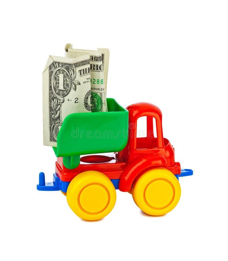 Zabawkarska ciężarówka z pieniądze obrazy stock