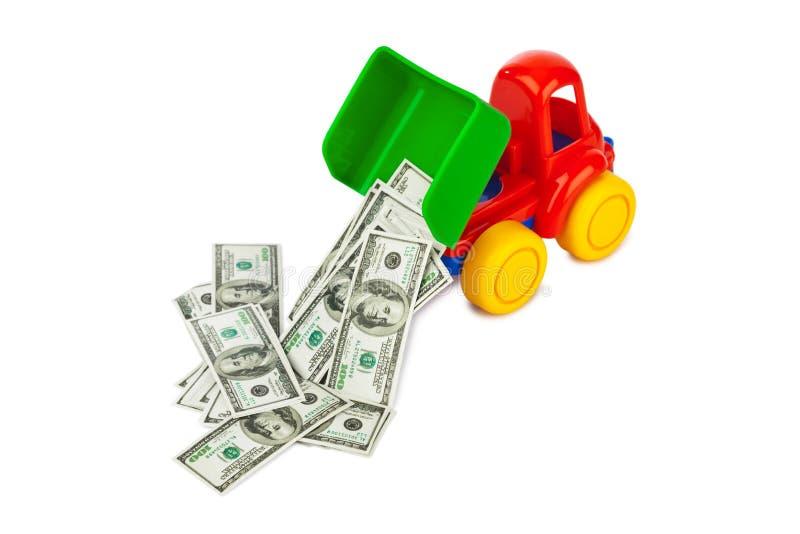 Zabawkarska ciężarówka z pieniądze zdjęcie royalty free