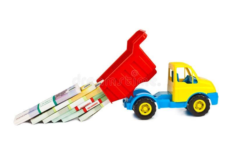Zabawkarska ciężarówka z pieniądze zdjęcie stock
