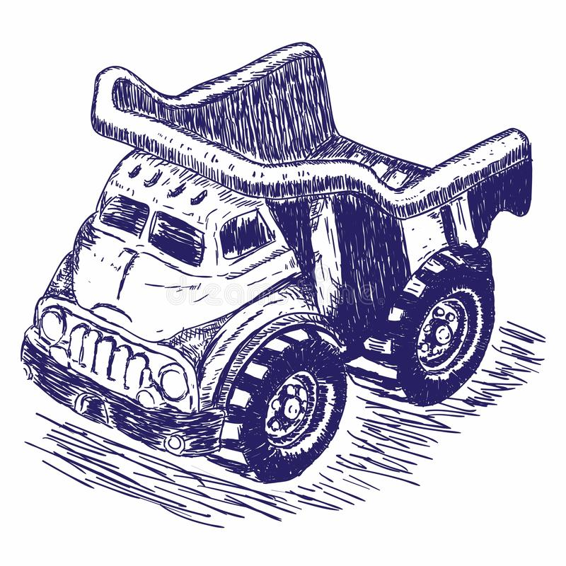 Zabawkarska ciężarowa ręka rysujący retro styl ilustracji