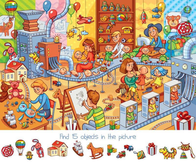 Zabawkarska fabryka E royalty ilustracja
