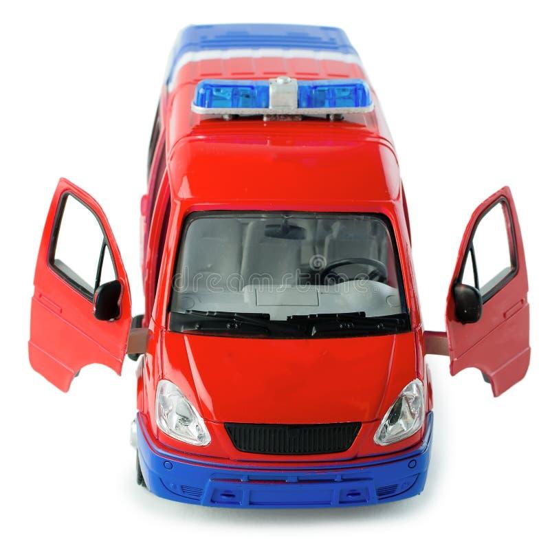 Zabawkarska furgonetka policyjna z rozpieczętowanych drzwi frontowym widokiem Dziecko zabawkarski plastikowy samochód policyjny z ilustracja wektor
