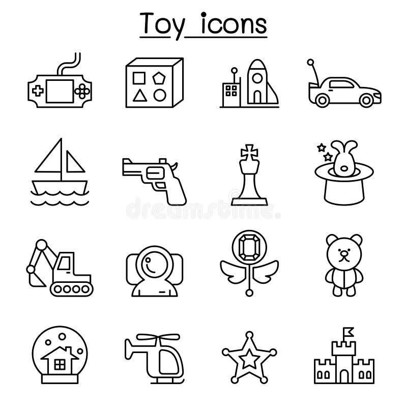 Zabawkarska ikona ustawiająca w cienkim kreskowym stylu ilustracja wektor