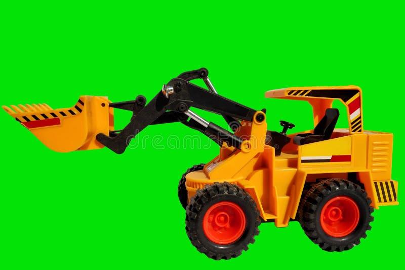 Zabawkarska JCB maszyna żółty colour z machinalnymi szczegółami obrazy stock