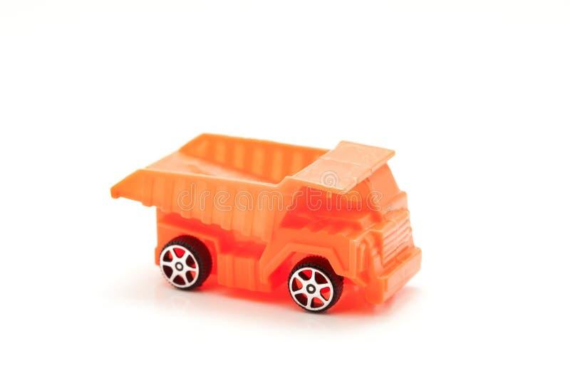 zabawkarska samochodowa usyp ciężarówka odizolowywająca na białym tle zdjęcie stock
