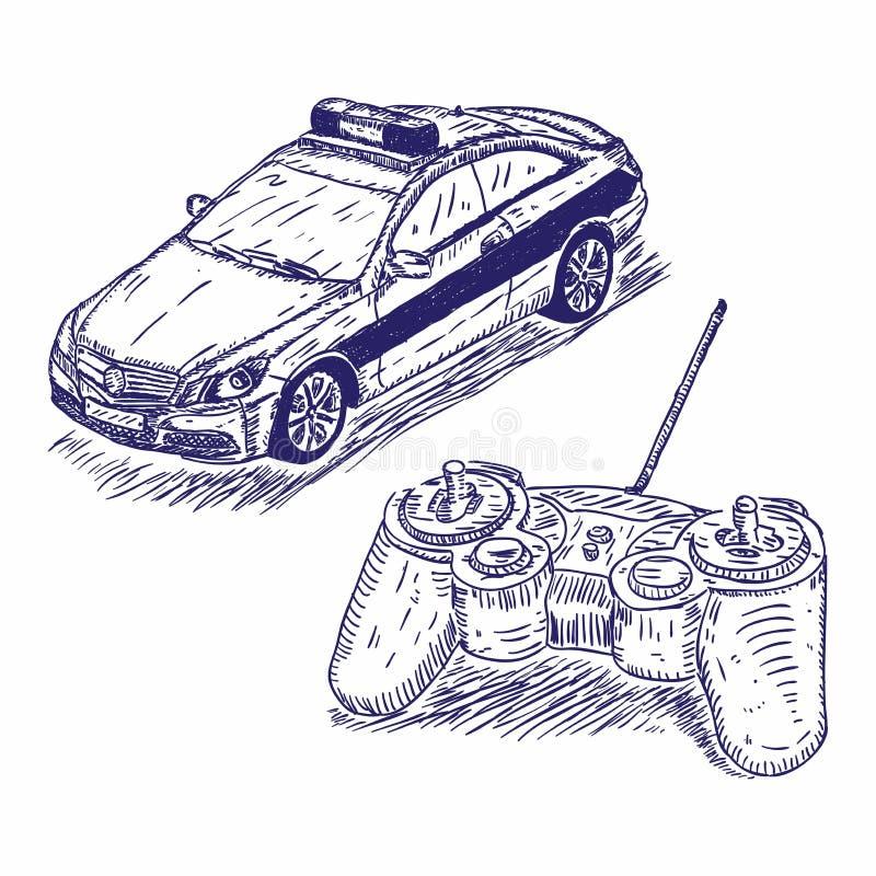 Zabawkarska samochodu policyjnego radia kontroli ręka rysująca ilustracji