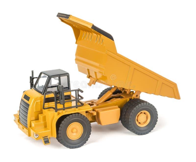 Zabawkarska usyp ciężarówka z upped pudełko łóżkowym bocznym widokiem Dziecko łupu ciężarówki zabawkarski plastikowy samochód z o obrazy stock