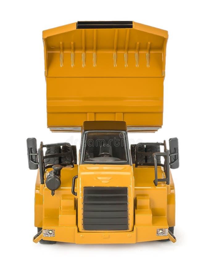 Zabawkarska usyp ciężarówka z upped pudełko łóżkowym frontowym widokiem Dziecko łupu ciężarówki zabawkarski plastikowy samochód z obrazy royalty free