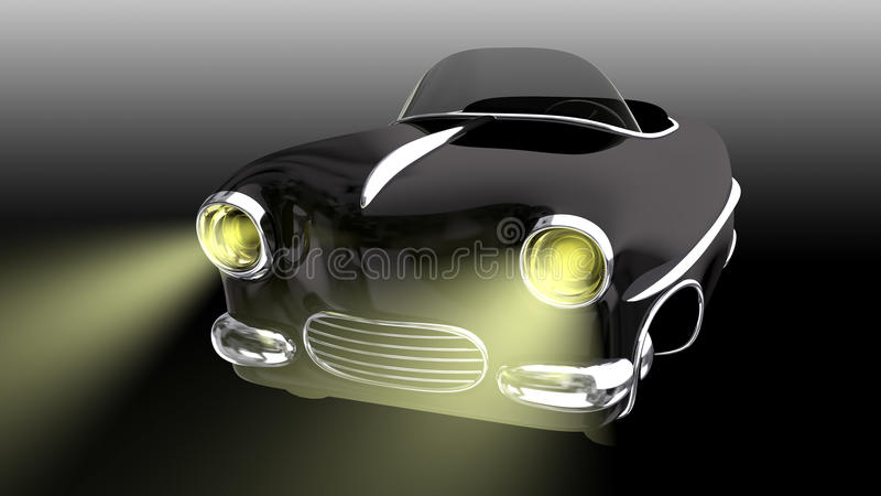Zabawkarski czarny samochód 3 d czynią royalty ilustracja