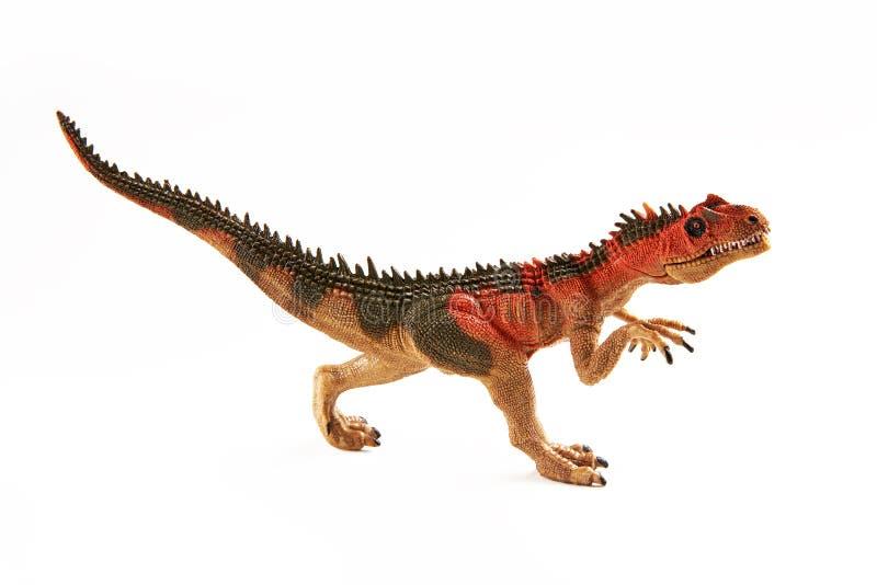 Zabawkarski dinosaur Jaszczurka Carcharodontosaurus dinosaur na białym tle zdjęcia royalty free