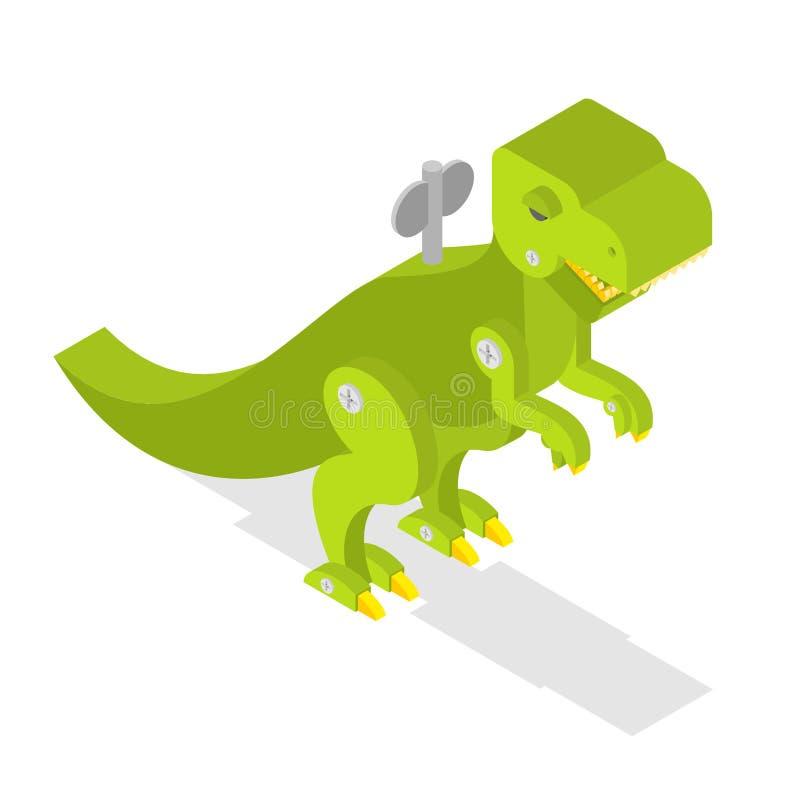 Zabawkarski dinosaur Tyrannosaurus Rex isometrics jaszczurka prehistoryczna royalty ilustracja
