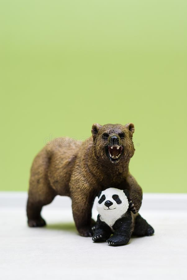 Zabawkarski grizzly niedźwiedź ochrania zabawkarskiej małej pandy obraz stock