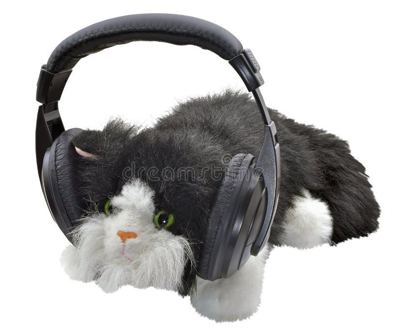 Zabawkarski kot z hełmofonami obraz stock