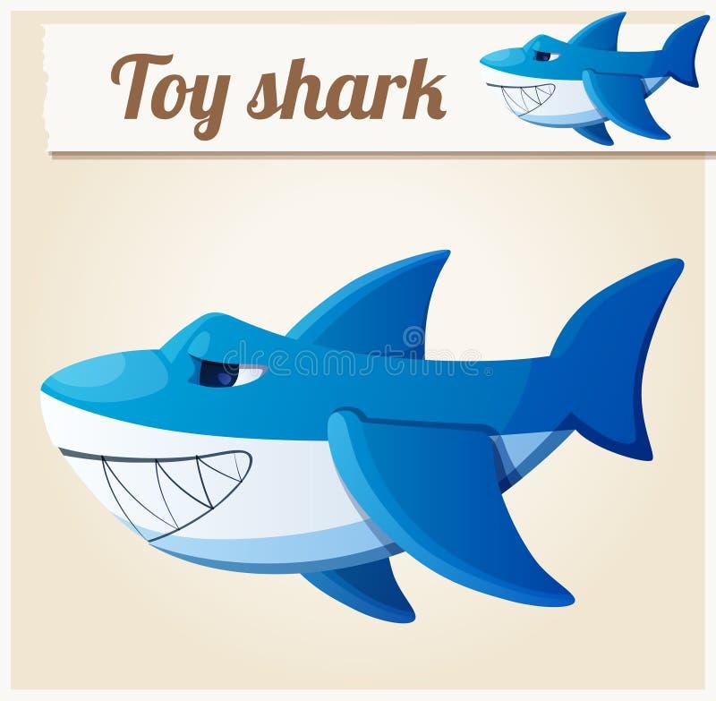Zabawkarski rekin obcy kreskówki kota ucieczek ilustraci dachu wektor royalty ilustracja