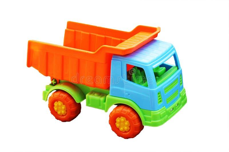 Zabawkarski samochód ciężarówka odizolowywająca na białym tle obraz stock
