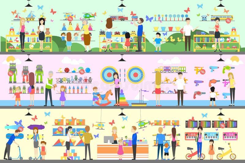 Zabawkarski sklepowy wnętrze set ilustracji
