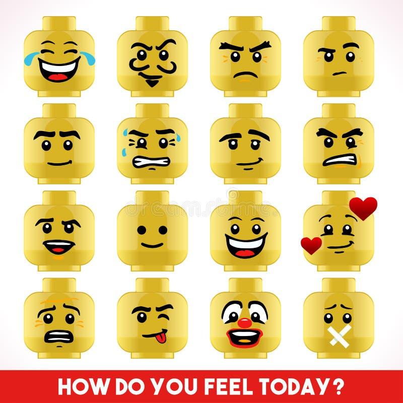 Zabawkarskie Blokowe Emoji gry Isometric ilustracja wektor