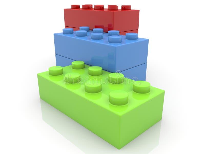 Zabawkarskie cegły brogować w rzędzie ilustracji