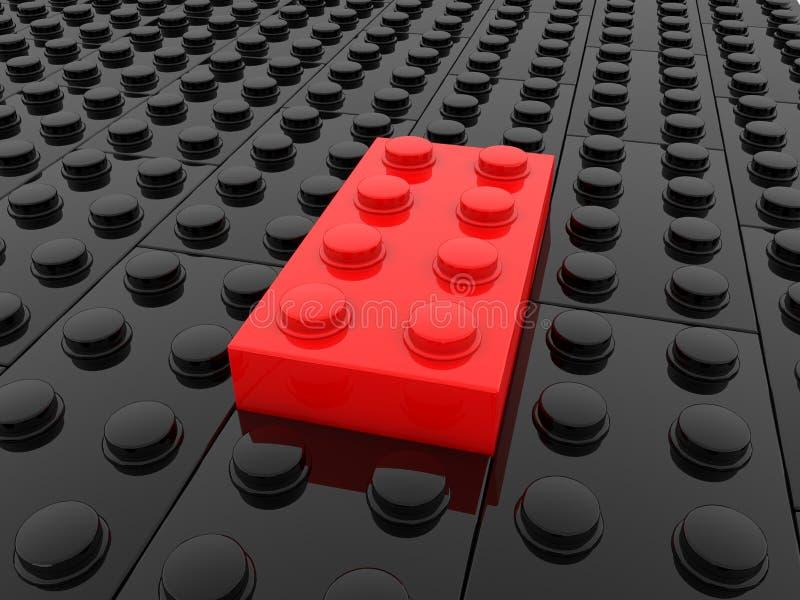 Zabawkarskie cegły w czarnych i czerwonych kolorach ilustracja wektor