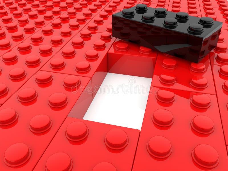 Zabawkarskie cegły w czerwonym i czarnym z pustą przestrzenią w środku royalty ilustracja