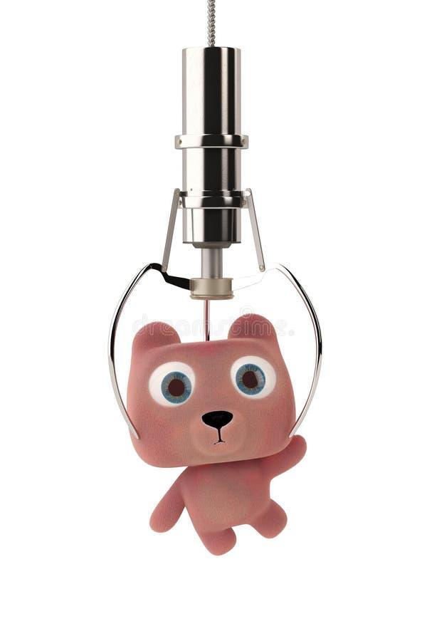 Zabawkarskie dźwigowe maszyny przycinają kreskówka niedźwiedzia ilustracja 3 d ilustracja wektor
