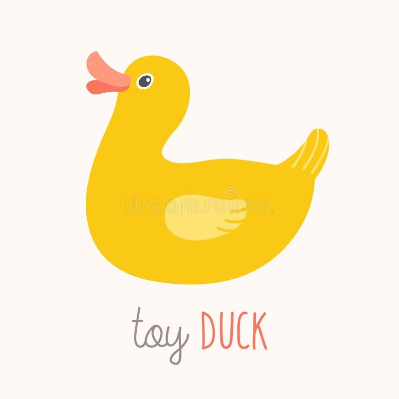 Zabawkarskiej kaczki błyskowa karta Dzieciaki Izolują sztukę Najpierw słowa flashcard Pepiniera najpierw formułuje plakat ścienną royalty ilustracja