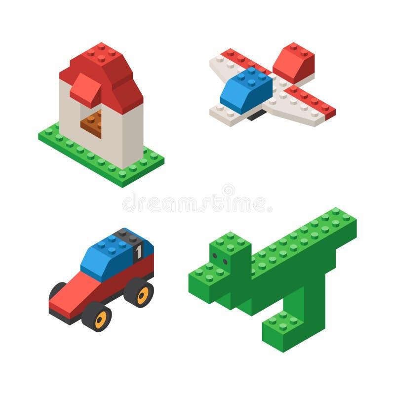Zabawki budować od plastikowych bloków ilustracji