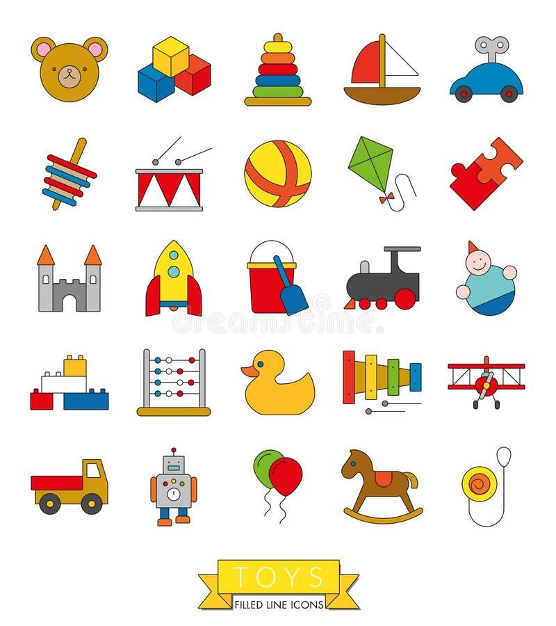 Zabawki Cienieją Kreskową ikonę Z kolor pełni kolekcją ilustracji